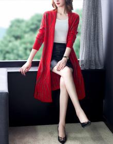 大码女装2020早秋新款韩版中长款针织开衫阔太太毛衣外套潮