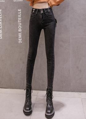 【实拍】2019新款高腰牛仔裤女冬加绒加厚小脚弹力显瘦长裤修身