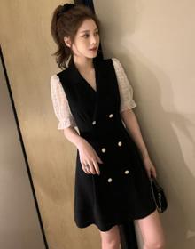 拼接假两件赫本轻熟风连衣裙女装夏季新款法式小众收腰显瘦桔梗裙