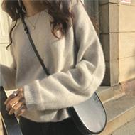 2020秋冬圆领羊绒衫女韩系加厚套头毛衣宽松慵懒风外穿针织衫打底