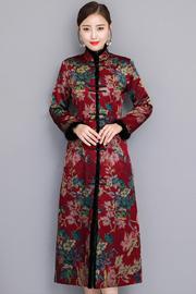 真丝改良夹棉秋冬旗袍长袖大气中长款妈妈开襟加厚时装旗袍裙礼服