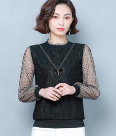 蕾丝打底衫女长袖2020春装新款韩版宽松遮肚子显瘦黑色网纱上衣潮
