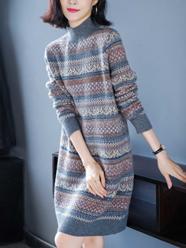 长款毛衣女士中长款打底衫2020年新款冬季新年针织连衣裙过膝秋冬