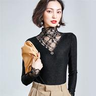1207# (实拍) 新款蕾丝拼接黑色高领亮丝修身显瘦打底衫女