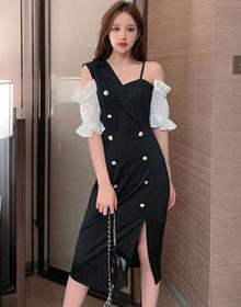 2020夏新款设计感单肩吊带排扣中长款性感修身包臀连衣裙礼服裙子