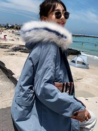 实拍2019新款羽绒服女韩版时尚拼色休闲短款港风学生棉服外套潮