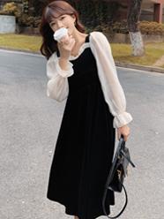 实拍现货2020秋冬新款韩版女装赫本风金丝绒拼接长袖连衣裙