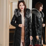 2019韩版冬季新款中长羽绒棉服PU皮真狐狸毛领皮棉衣加厚皮衣外套
