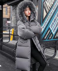 实拍 大毛领羽绒棉服女长款冬季韩版潮收腰东大门过膝棉衣8605