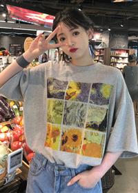 实拍2019新款夏季中长款T恤女宽松圆领短袖打底衫拼图印花ins上衣