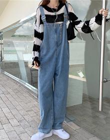 实拍秋装新款大码女装胖mm工装连体裤高腰宽松背带裤M-5XL200斤