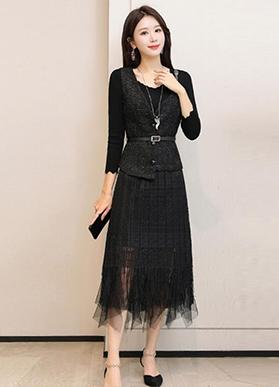 2020春装新款两件套裙小香风女韩版修身网纱打底中长款针织连衣裙