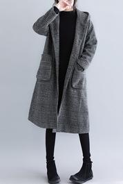 883#实拍现货2020冬新款千鸟格纹韩版毛呢外套大码女装限价118