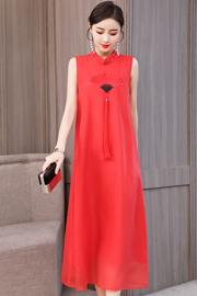 实拍夏季装旗袍式连衣裙中长款中国风甜美改良古典红色大码气质