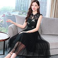 实拍 现货新款蕾丝绣花民族风改良背心拼接网纱长款连衣裙