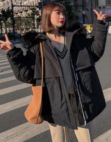 實拍韓國東大門19新款羽絨服女短款大毛領寬松bf棉衣面包服速賣通