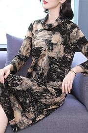 新款2019秋季妈妈装正式场合贵夫人连衣裙大码宽松遮肚子显瘦打底