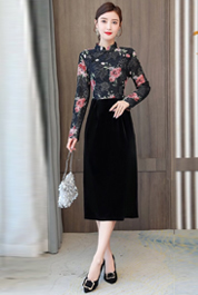 實拍2020新款秋收腰顯瘦優雅復古印花蕾絲絲絨拼接包臀連衣裙