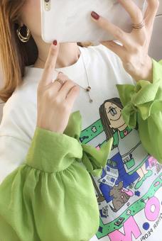 2020春装2015#实拍超火宽松慵懒风上衣潮ins时尚拼接长袖T恤女