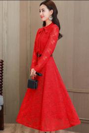 实拍红色蕾丝连衣裙长袖女2018新款春秋韩版修身显瘦大摆长裙8005