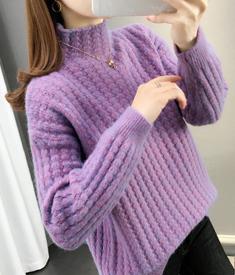 麻花高领毛衣女士2020新款潮秋冬加厚宽松外穿网红内搭打底衫洋气