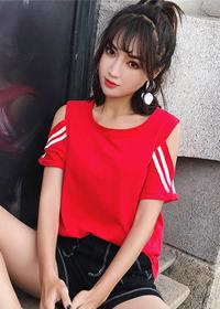 2019夏装实拍新款纯棉露肩ulzzang纯色圆领短袖T恤(95棉 5氨纶)