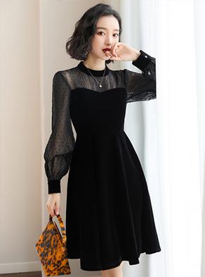 1891# (实拍) 新款复古长袖小黑裙拼接雪纺显瘦丝绒连衣裙