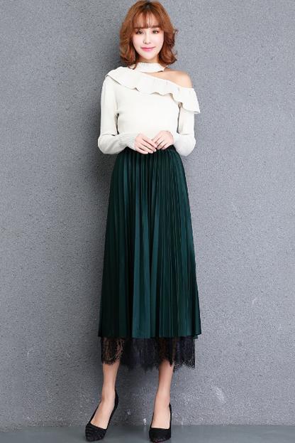 实拍两面穿半身裙a字松紧腰中长款百褶裙蕾丝网纱拼接双面穿纱裙