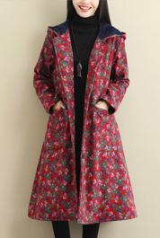 实拍2321#2019年冬装新款民族风大码棉麻加绒加厚开衫中长款外套