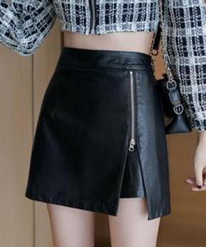 2021秋冬新款皮裙子半身裙女高腰显瘦时尚开拉链a字裙包臀短裤裙