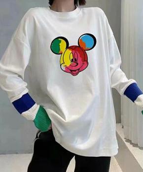 1301#官圖實價 雙面加厚德絨 2020冬裝新款寬松圓領拼接針織袖T恤