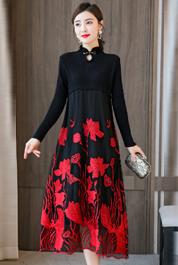 實拍羊毛針織連衣裙女秋冬2020新款網紗拼接刺繡復古寬松A字裙