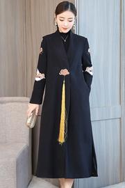 实拍中国风毛呢外套女秋冬宽松中长款汉服大衣复古时装改良旗袍