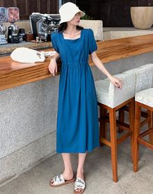 实拍 泡泡袖连衣裙女2020夏季新款收腰显瘦赫本风超仙裙子B1261