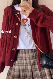 红色针织女开衫短款2021年春秋季韩版宽松显瘦外穿毛衣外套