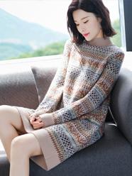 長款毛衣女士中長款打底衫2020年新款冬季新年針織連衣裙過膝秋冬