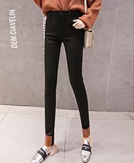 大码女裤2018冬季新款黑色加绒打底裤女外穿加厚铅笔显瘦小脚裤子
