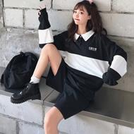 2543#【实拍 6535棉】polo领卫衣女学院原宿bf风潮学生慵懒风上衣
