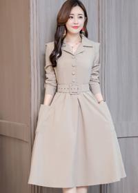 实拍6131# 2018秋季新款女装韩版修身显瘦中长款气质长袖连衣裙女