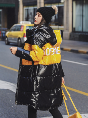 实拍 2019秋冬新款羽绒棉服女韩版时尚字母拼色休闲宽松棉衣外套