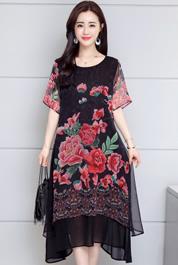 实拍2370#2020年夏装新款显瘦大码文艺民族风复古中长款连衣裙