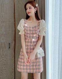 实拍~2020夏季新款时尚优雅喇叭袖格子裙子亮片短袖连衣裙女