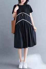 6252#实拍现货黑色连衣裙女夏季2020新款欧货高腰显瘦遮肚子宽松