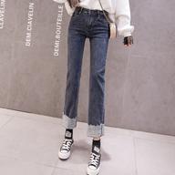 【实拍】直筒牛仔裤女九分裤烟灰弹力显瘦高腰秋冬加绒加厚小个子