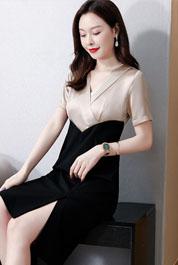 实拍3221#醋酸缎面连衣裙女2021夏季新款短袖法式复古修身包臀裙