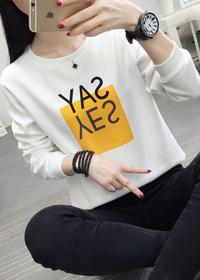 A832#实拍加绒加厚秋冬装2019新款宽松简约字母圆领套头长袖T恤女