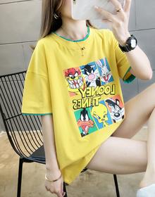 实拍 夏装新款韩版宽松卡通印花中长款ins短袖T恤女