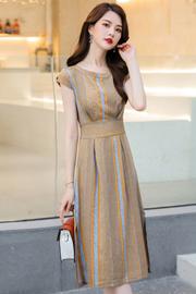连衣裙女夏季2019新款气质修身显瘦中长款条纹流行夏天雪纺长裙子
