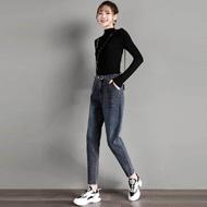 【实拍】松紧高腰弹力牛仔裤女宽松哈伦裤秋冬季新款韩版显瘦老爹裤