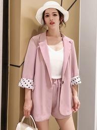 实拍现货922#春夏韩版薄款休闲小西装闺蜜装防晒上衣短裤两件套装